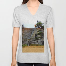 Abandoned Collapsing Homestead Unisex V-Neck