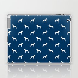 Great Dane dog breed pattern minimal simple navy and white great danes silhouette Laptop & iPad Skin
