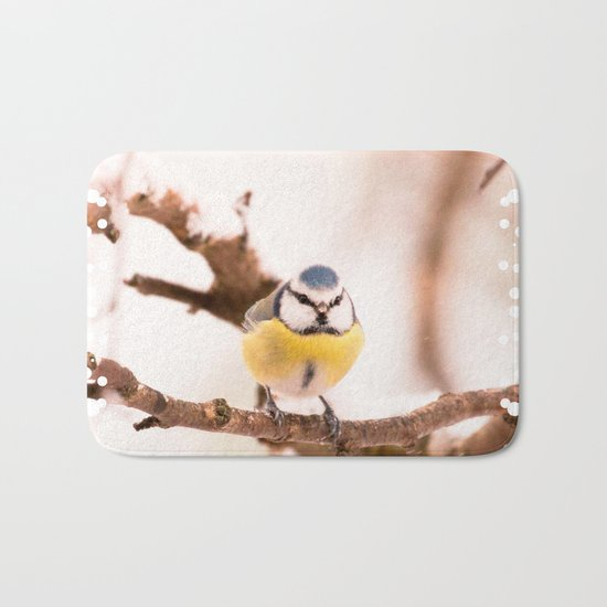 Blue tit on a branch Bath Mat