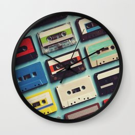 Cassette tape aerial view vintage style collection Wall Clock