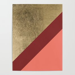 Modern gold foil burgundy peach color block geometric stripes pattern Poster