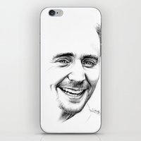 tom hiddleston iPhone & iPod Skins featuring Tom Hiddleston by Cécile Pellerin