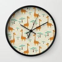 giraffes Wall Clocks featuring Giraffes by BlueLela