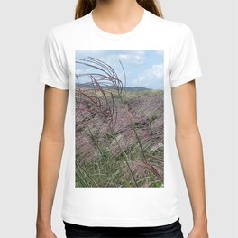 Silver grass of Oreum , Jeju Island, Korea. T-shirt