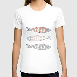 Traditional Portuguese icon. Colored sardines with typical Portuguese tiles patterns. Vector illustr T-shirt