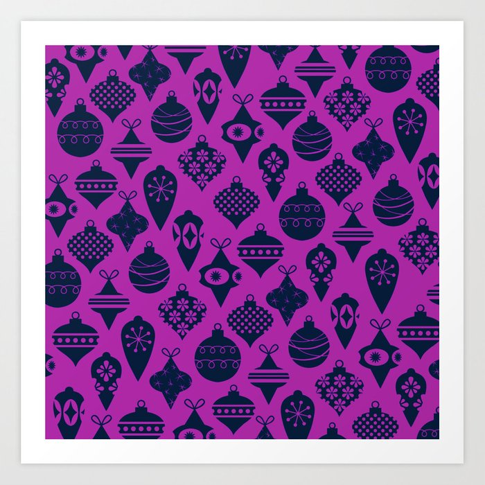 Ornaments 1.0 Bright Purple Art Print