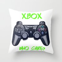 xbox Throw Pillows featuring Ps vs xbox by BAS~