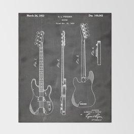 Bass Guitar Patent - Bass Guitarist Art - Black Chalkboard Throw Blanket