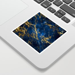 Exquisite Blue Marble With Luxury Gold Veins Sticker