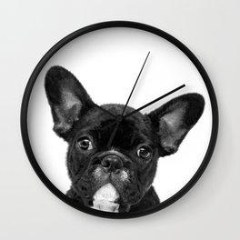 Black and White French Bulldog Wall Clock