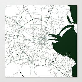 White on Dark Green Dublin Street Map Canvas Print