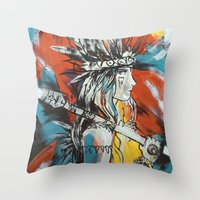 indian Throw Pillows featuring Indian by ketizoloto