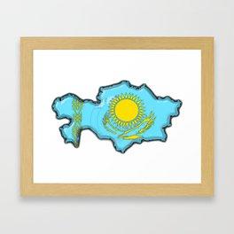 Kazakhstan Map with Kazakh Flag Framed Art Print