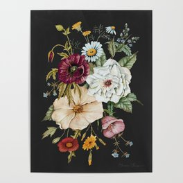 Colorful Wildflower Bouquet on Charcoal Black Poster
