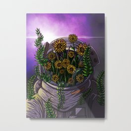 Sunflower in space Metal Print