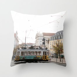 Vintage tram in lisbon Throw Pillow