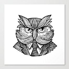 Hip Wise Owl Suit Woodcut Canvas Print
