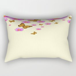 SCATTERED  PINK WILD ROSES  MONARCH BUTTERFLIES Rectangular Pillow