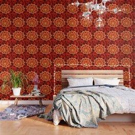 Red Dahlia Fractal Flower With Beautiful Bokeh Vivid Crimson Wallpaper