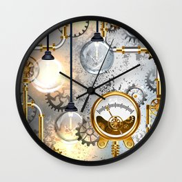 Steampunk Industrial Background with Manometer and Electric Lamp Wall Clock