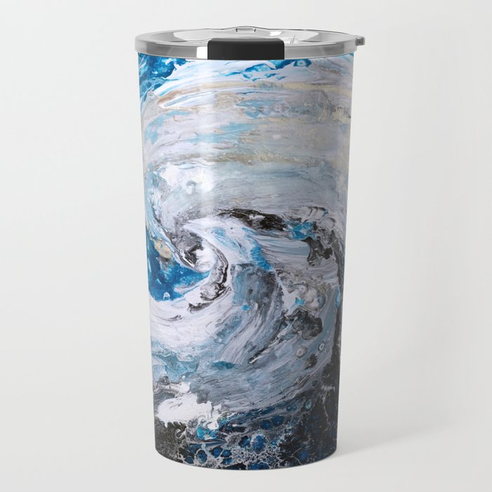 Ocean wave - blue and gold abstract seascape Travel Mug