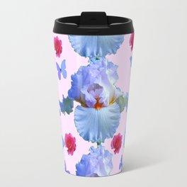 ROSES PASTEL IRISES BLUE-PURPLE BUTTERFLIES ABSTRACT Travel Mug