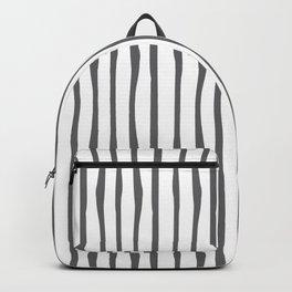 Grey Charcoal Stripes Print White Backpack