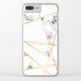 Stone Effects White and Gray Marble with Gold Accents Clear iPhone Case