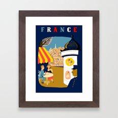 Vintage France Sidewalk Cafe Travel Framed Art Print