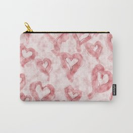 Pink Pastel Hearts on Watercolour Clouds Carry-All Pouch