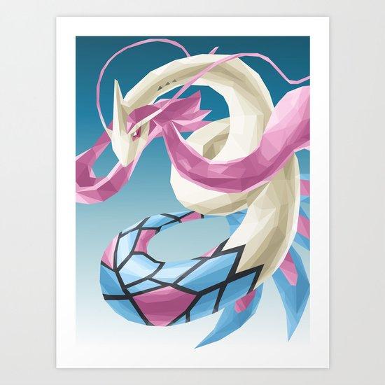 Pocket monster - Milotic the Water Snake Art Print