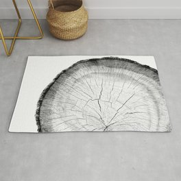Detailed black and white cut tree close-up Rug