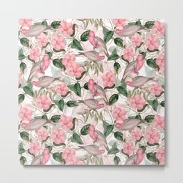 Vintage & Shabby Chic - Pink Tropical Birds And Flowers Metal Print