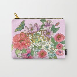 Spring Flowers and butterfly with Quote in latin Carry-All Pouch