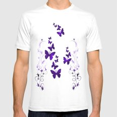 purple butterfly Mens Fitted Tee White MEDIUM
