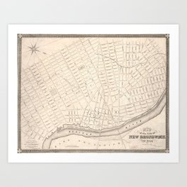 Vintage Map of New Brunswick NJ (1837) Art Print