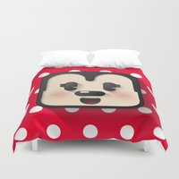 minnie mouse Duvet Covers featuring minnie mouse cutie by designoMatt