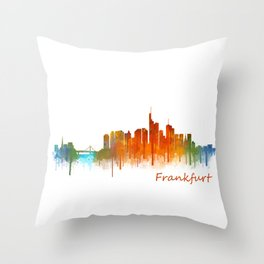 Frankfurt am Main, City Cityscape Skyline watercolor art v2 Throw Pillow