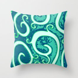 Blue green spirals Throw Pillow