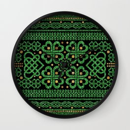 Shamrock Four-leaf Clover Celtic Ornament Wall Clock