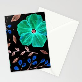 Elegnat green flower texture Stationery Cards