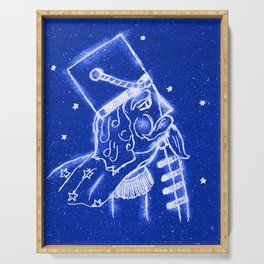 Nutcracker in Bright Blue Serving Tray
