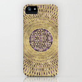 Flower of Life Amethyst and Gold iPhone Case