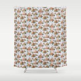 Gingerbread village pattern Shower Curtain