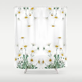 white Margaret daisy watercolor Shower Curtain