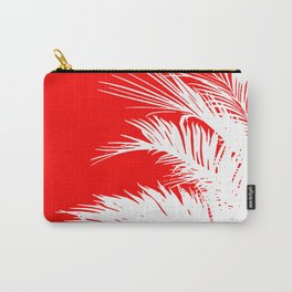 Red & White Palm Leaves Carry-All Pouch