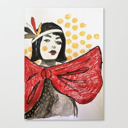 Gold dots, red bow Canvas Print