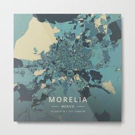 Morelia, Mexico - Cream Blue Metal Print