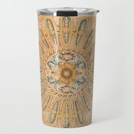 Louvre Fame Carpet // 16th Century Sunflower Yellow Blue Gold Colorful Ornate Accent Rug Pattern Travel Mug