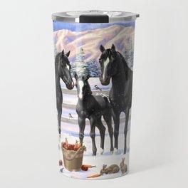 Black Appaloosa Horses In Winter Snow Travel Mug